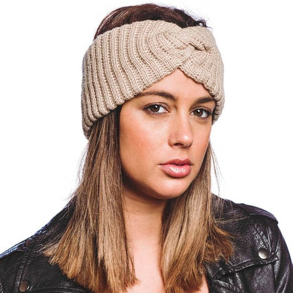 Headband Accessories - Knit Head Band Beige New